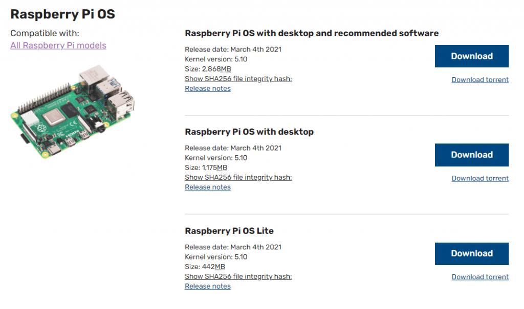 raspberry pi os download pagina